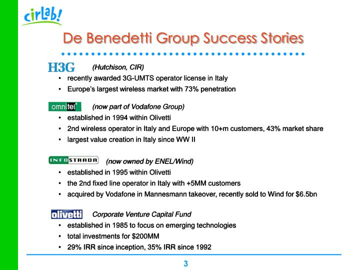 De benedetti group success stories