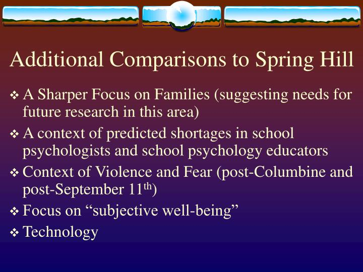 Additional Comparisons to Spring Hill
