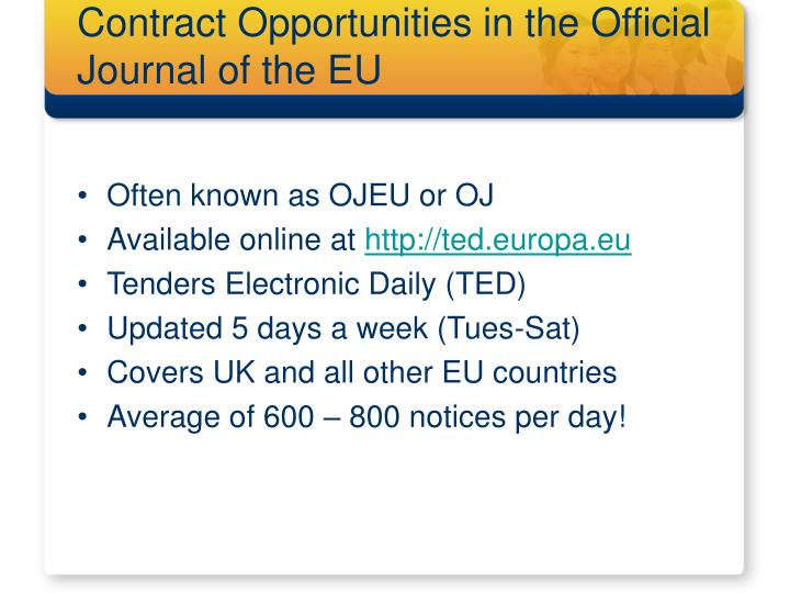 Contract Opportunities in the Official Journal of the EU