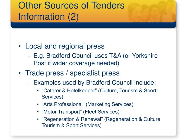 Other Sources of Tenders Information (2)