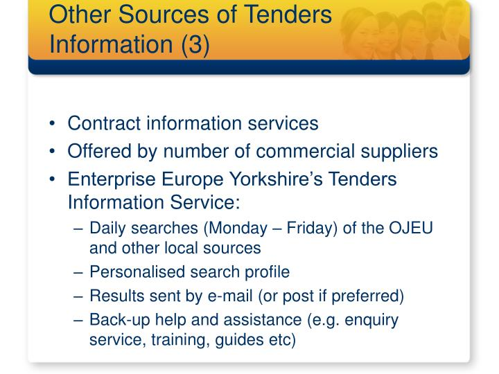 Other Sources of Tenders Information (3)