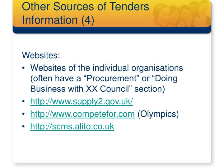 Other Sources of Tenders Information (4)