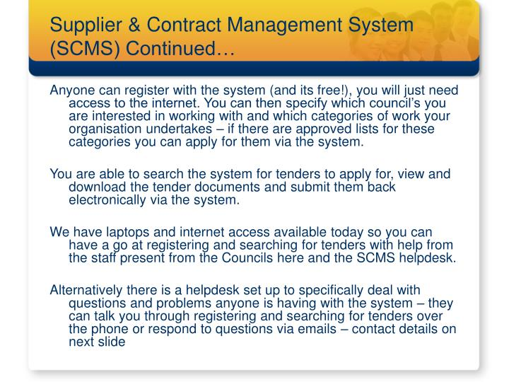 Supplier & Contract Management System (SCMS) Continued…