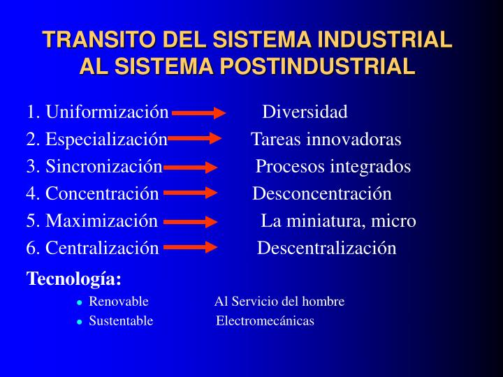 TRANSITO DEL SISTEMA INDUSTRIAL AL SISTEMA POSTINDUSTRIAL
