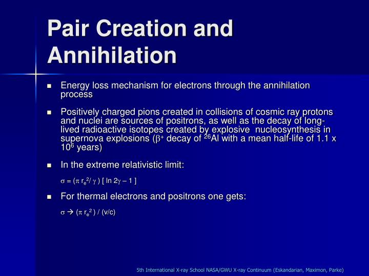 Pair Creation and Annihilation