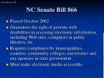nc senate bill 866