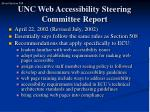 unc web accessibility steering committee report