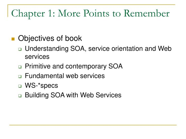 Chapter 1: More Points to Remember