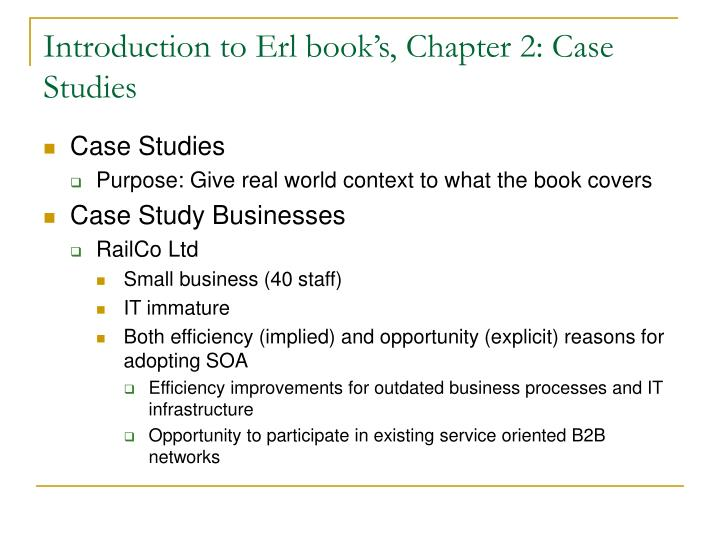 Introduction to Erl book's, Chapter 2: Case Studies