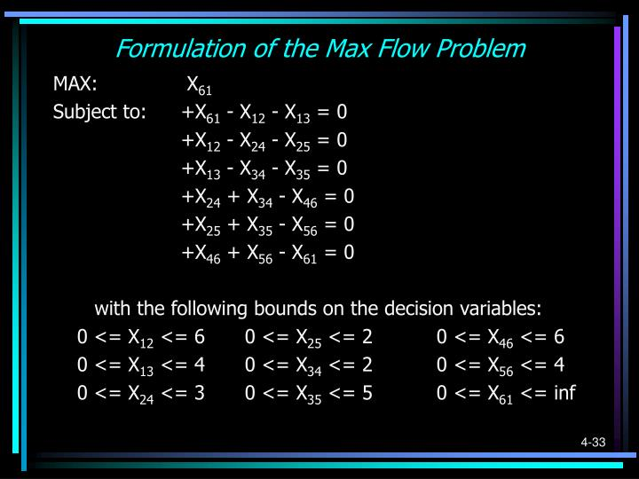 Formulation of the Max Flow Problem