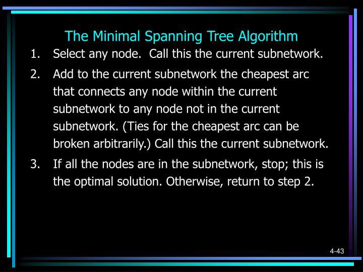 The Minimal Spanning Tree Algorithm