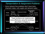 transportation assignment problems