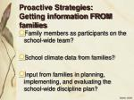 proactive strategies getting information from families