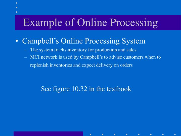 Example of Online Processing