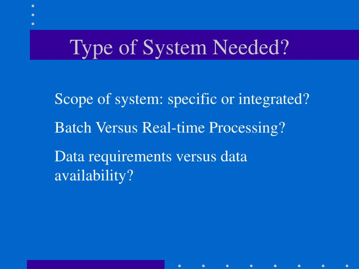 Type of System Needed?
