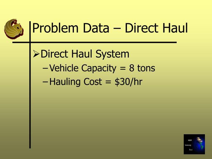 Problem Data – Direct Haul