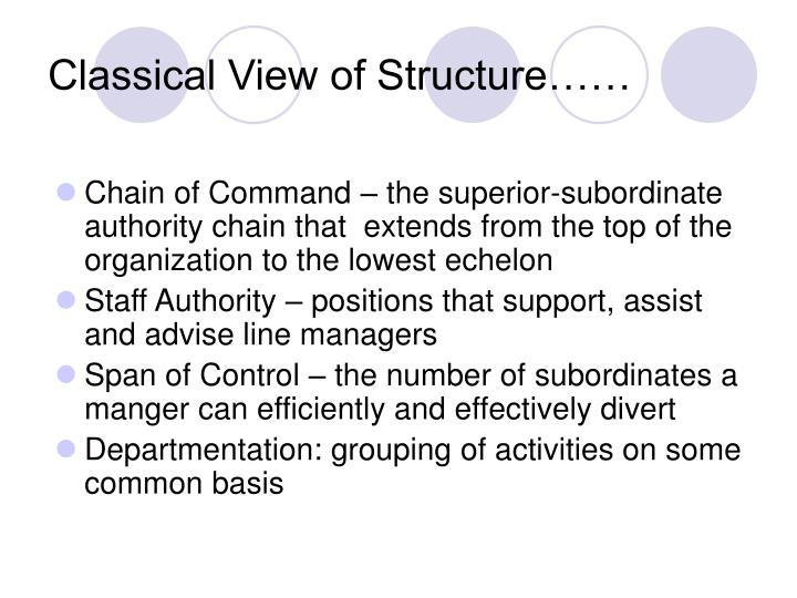 Classical View of Structure……