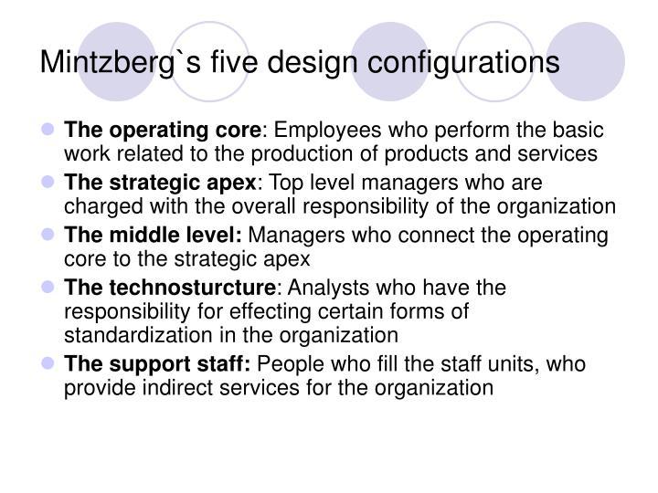 Mintzberg`s five design configurations