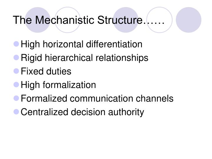 The Mechanistic Structure……