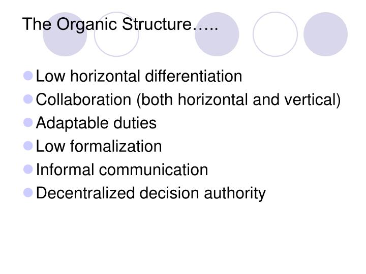 The Organic Structure…..