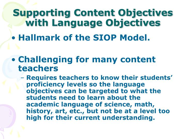 Supporting Content Objectives with Language Objectives