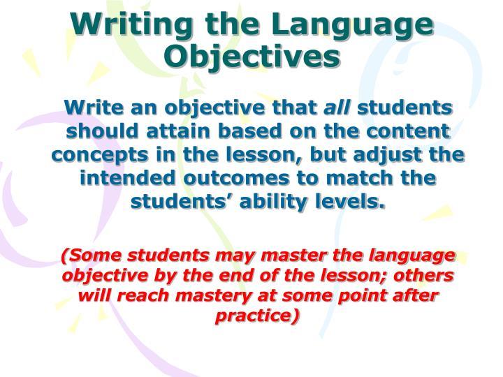 Writing the Language Objectives