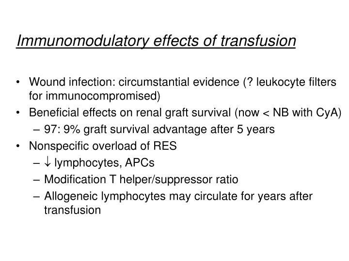Immunomodulatory effects of transfusion