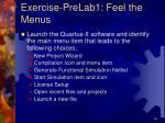 exercise prelab1 feel the menus