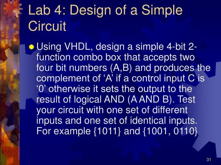 Lab 4: Design of a Simple Circuit