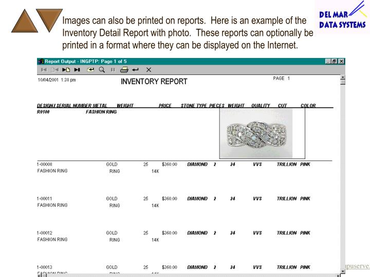 Images can also be printed on reports.  Here is an example of the Inventory Detail Report with photo.  These reports can optionally be printed in a format where they can be displayed on the Internet.