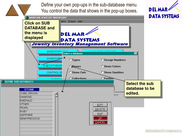 Define your own pop-ups in the sub-database menu.  You control the data that shows in the pop-up boxes.