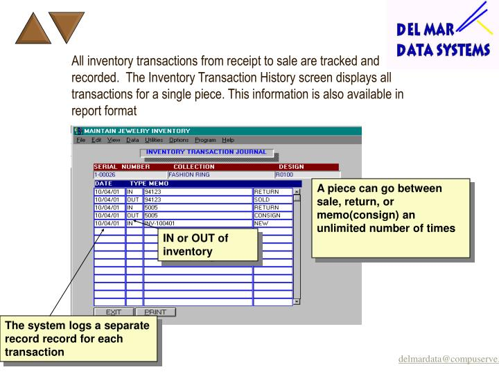 All inventory transactions from receipt to sale are tracked and recorded.  The Inventory Transaction History screen displays all transactions for a single piece. This information is also available in report format