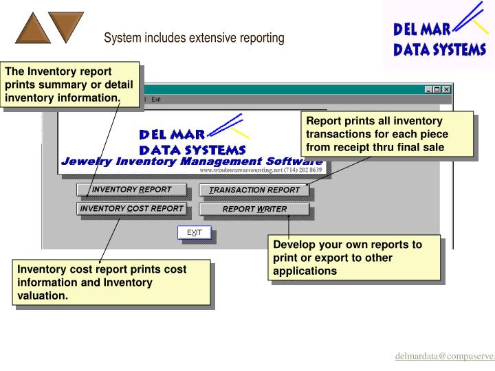 System includes extensive reporting