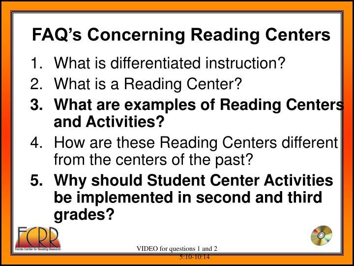 FAQ's Concerning Reading Centers