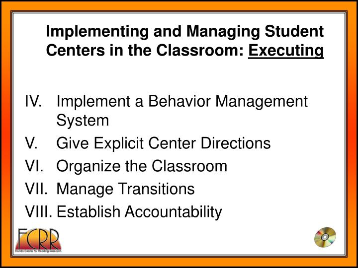 Implementing and Managing Student Centers in the Classroom:
