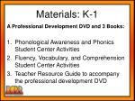 materials k 1