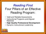 reading first four pillars of an effective reading program