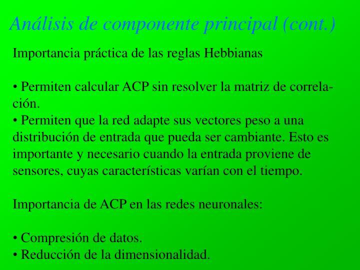 Análisis de componente principal (cont.)