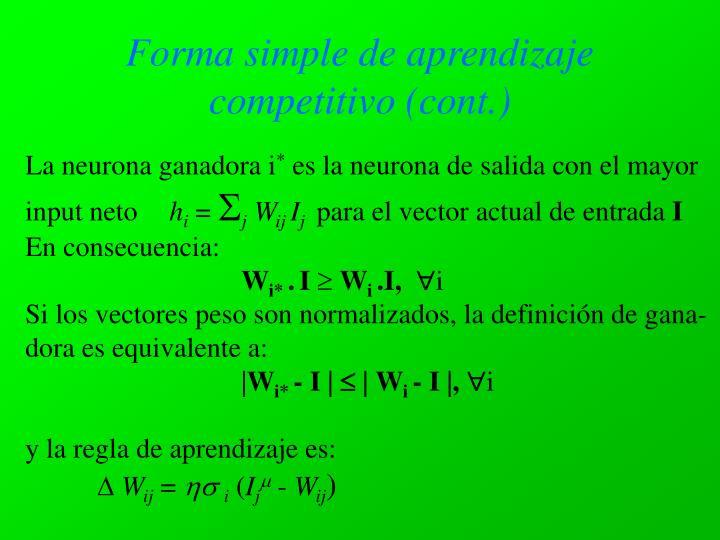 Forma simple de aprendizaje competitivo (cont.)