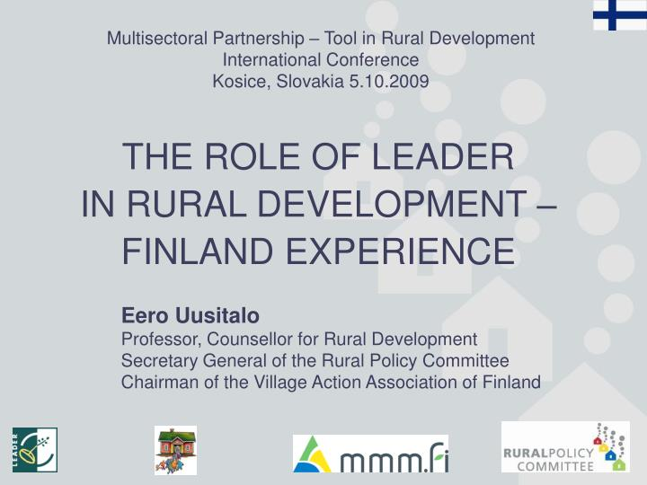 Multisectoral Partnership – Tool in Rural Development