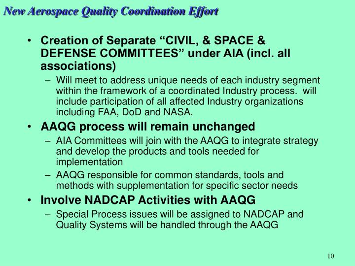 New Aerospace Quality Coordination Effort