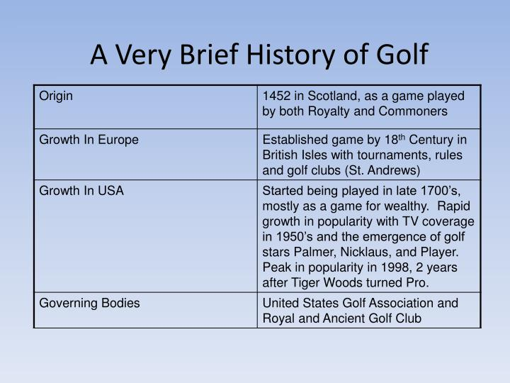 A Very Brief History of Golf