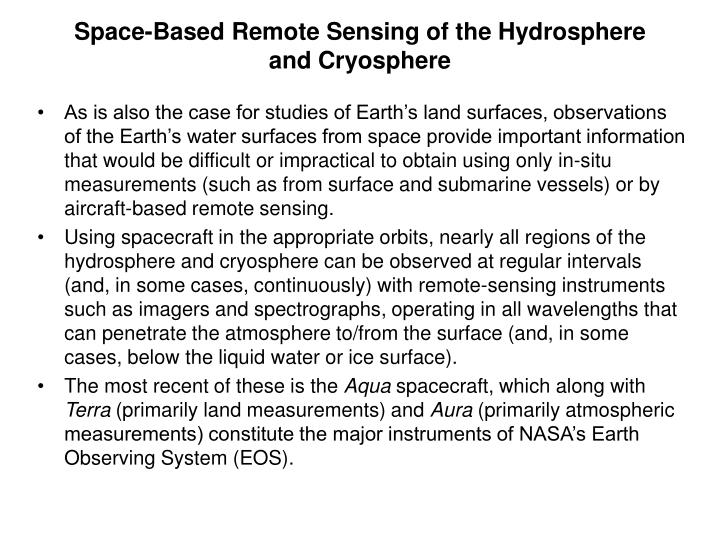 Space-Based Remote Sensing of the Hydrosphere and Cryosphere