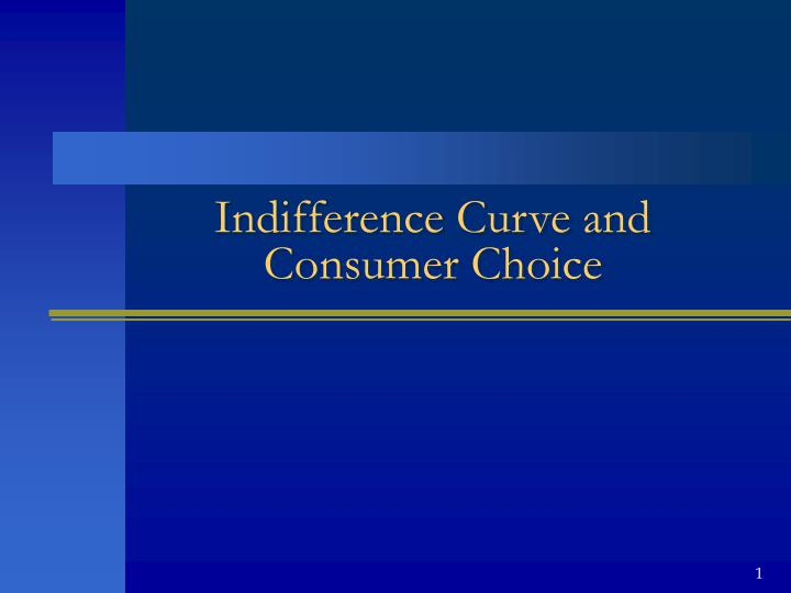 Indifference curve and consumer choice
