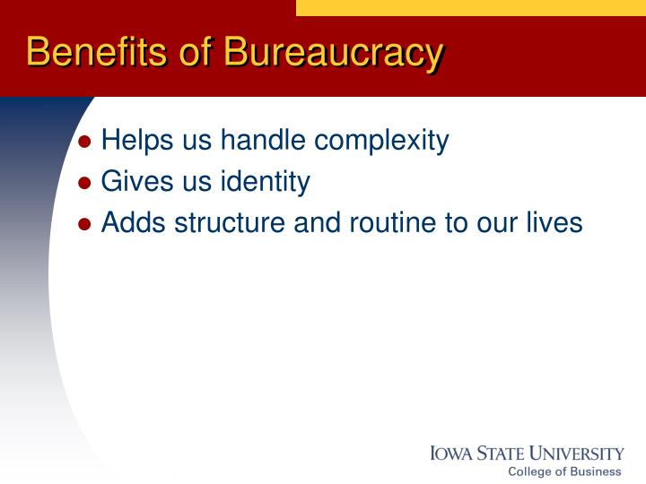 Benefits of bureaucracy