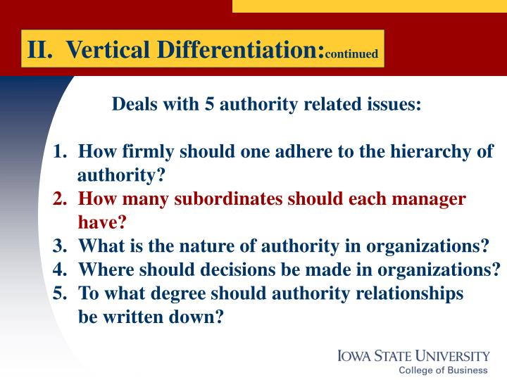 II.  Vertical Differentiation:
