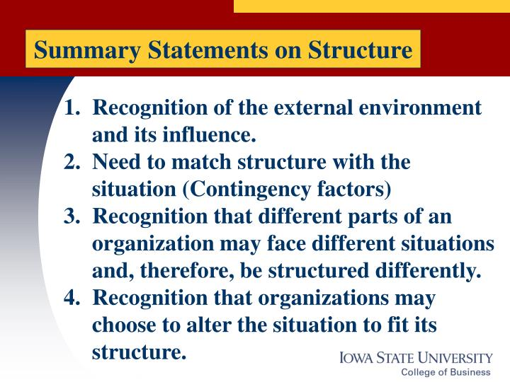 Summary Statements on Structure