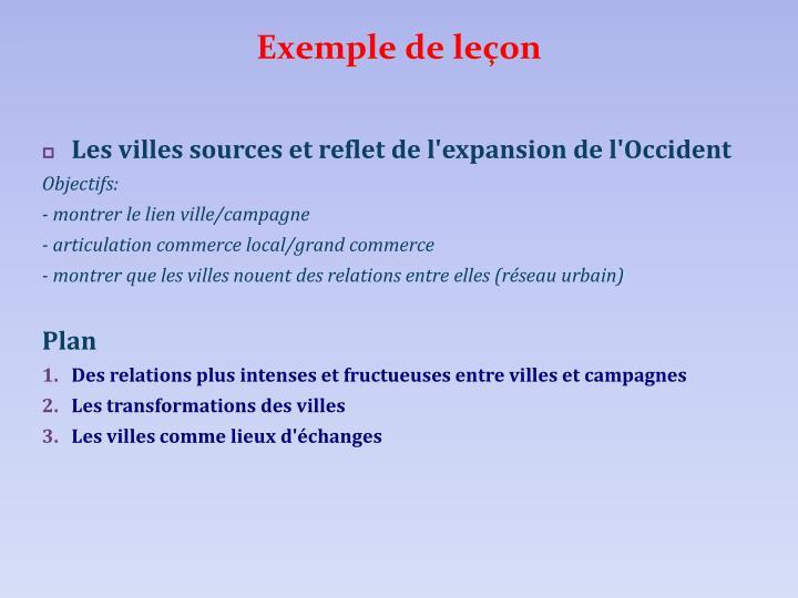 Exemple de leçon