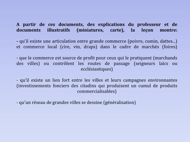 A partir de ces documents, des explications du professeur et de documents illustratifs (miniatures, carte), la leçon montre: