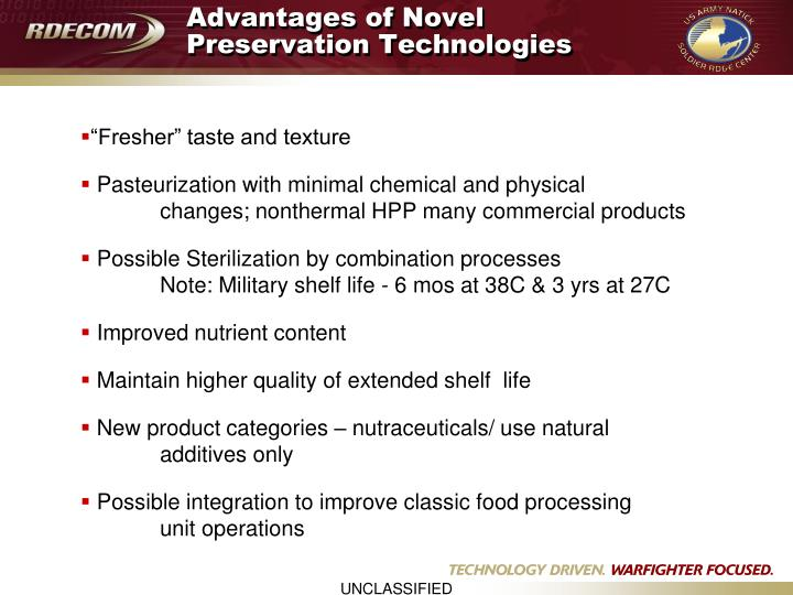 Advantages of Novel Preservation Technologies